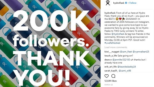 Hydro Flask Instagram Giveaway
