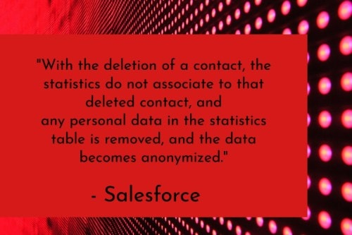 "With the deletion of a contact, the statistics do not associate to that deleted contact, and any personal data in the statistics table is removed, and the data becomes anonymized."" - Salesforce"