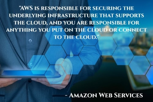 """AWS is responsible for securing the underlying infrastructure that supports the cloud, and you are responsible for anything you put on the cloud or connect to the cloud."" - Amazon Web Services"