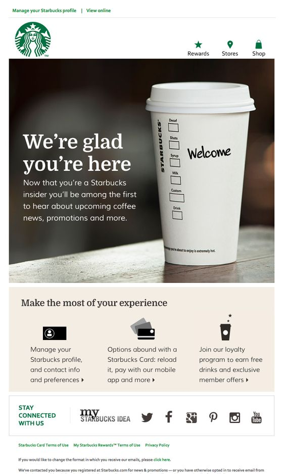 Starbucks Welcome Email Example