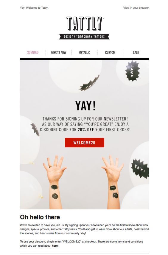 Tattly Welcome Email Example