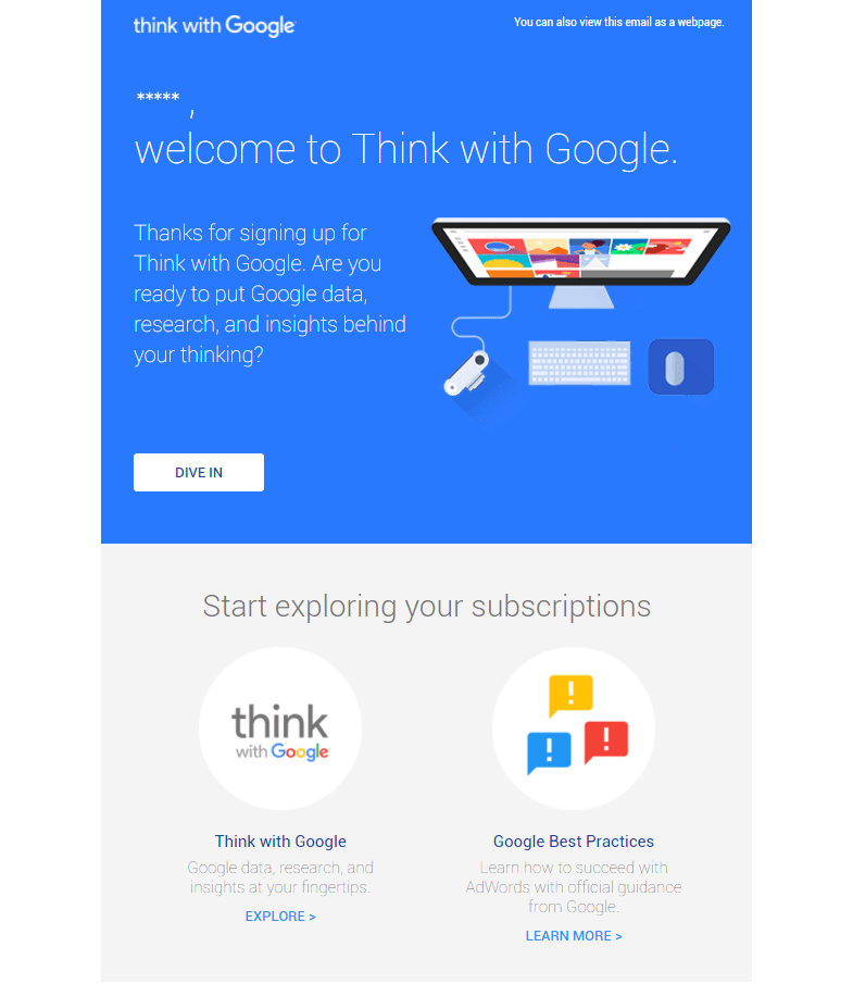 Think with Google Welcome Email