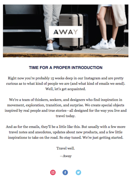 Away Welcome Email Example