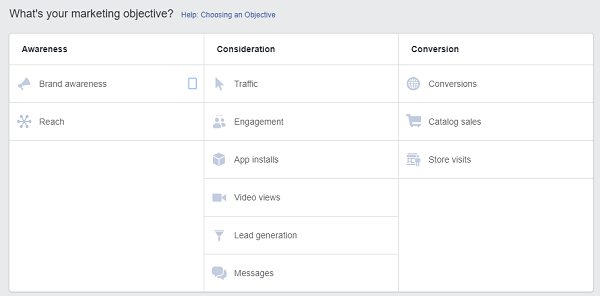 FB Ad Marketing Objectives