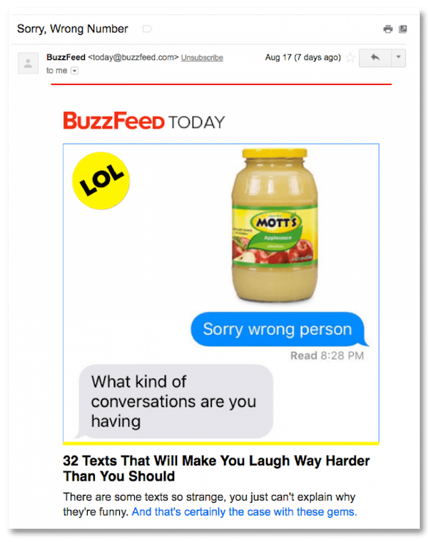 great newsletter examples-Buzzfeed