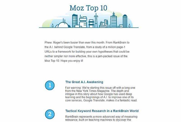 great newsletter examples-Moz Top 10