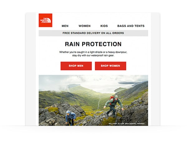 great newsletter examples-The North Face