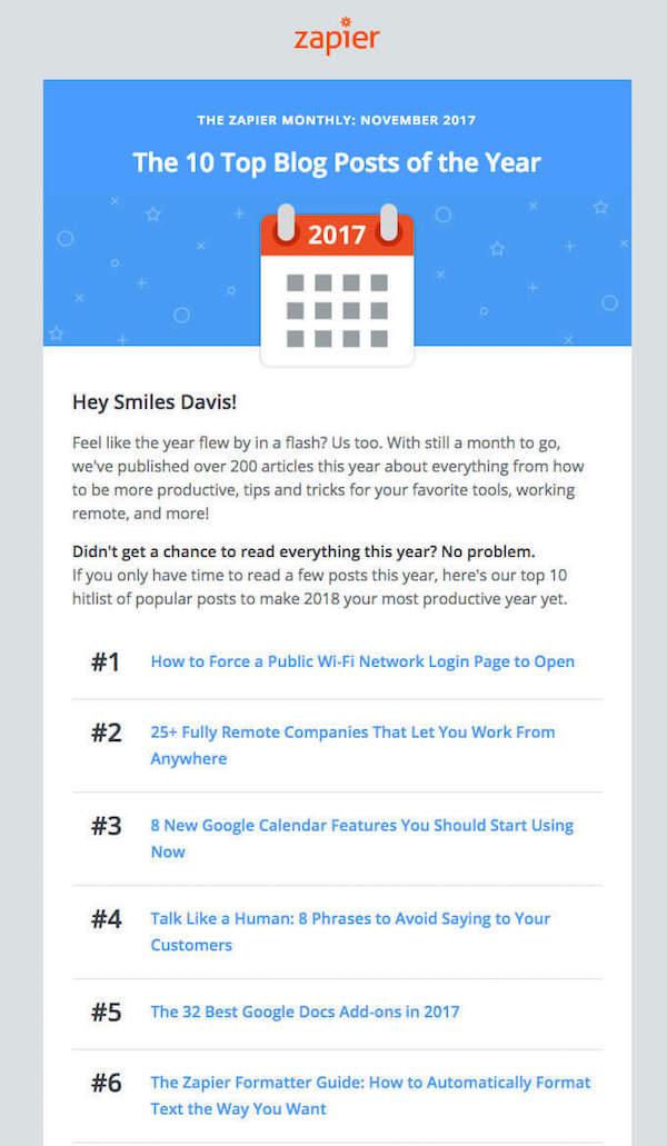 great newsletter examples-Zapier