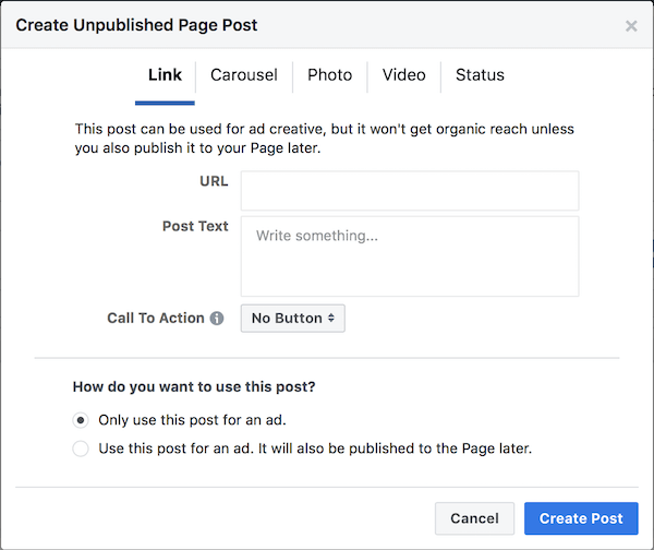 Create Facebook Unpublished Post