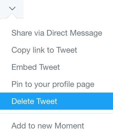 Twitter delete single tweet