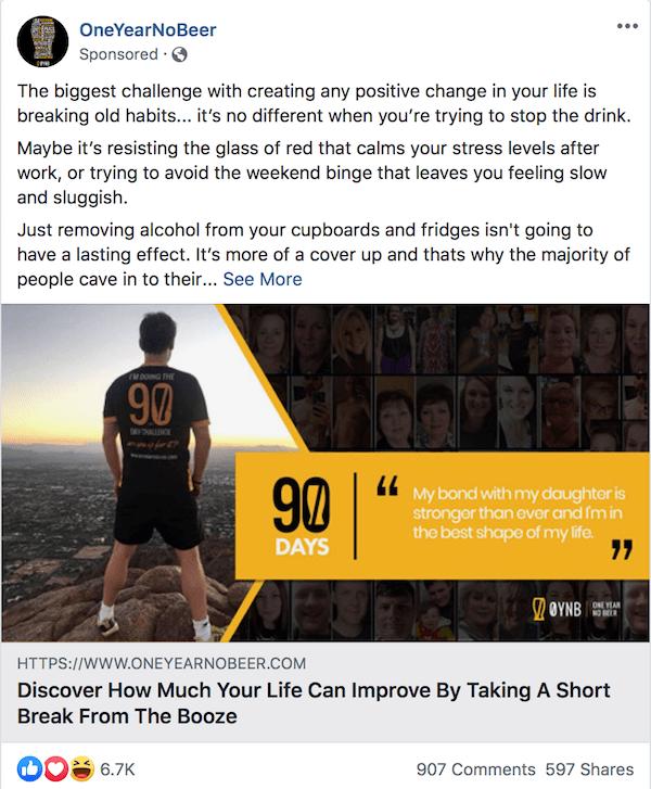 OneYearNoBeer Facebook ad example