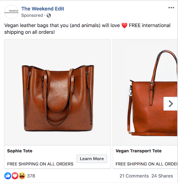 The Weekend Edit Facebook ad example