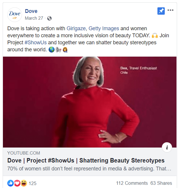 Dove marketing video on Facebook