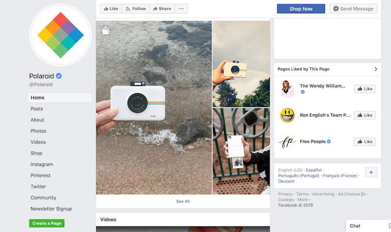 Facebook page examples Polaroid