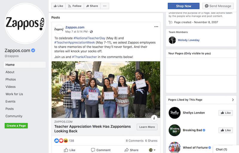 Facebook page examples Zappos