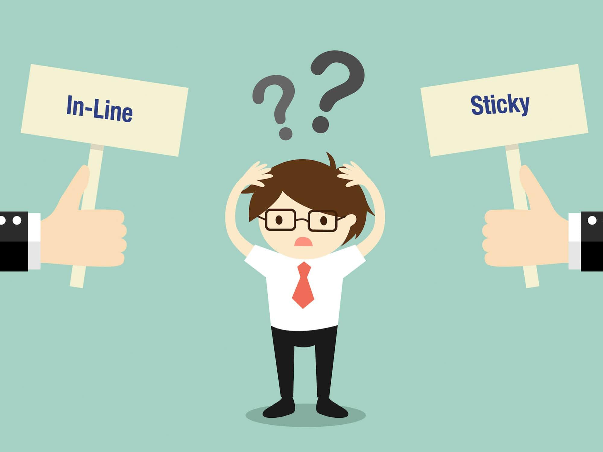 inline vs. sticky share buttons