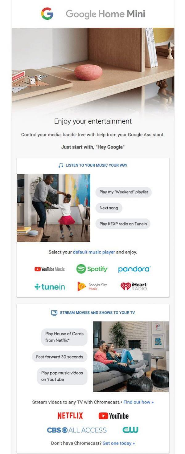 great newsletter examples-Google Home Mini