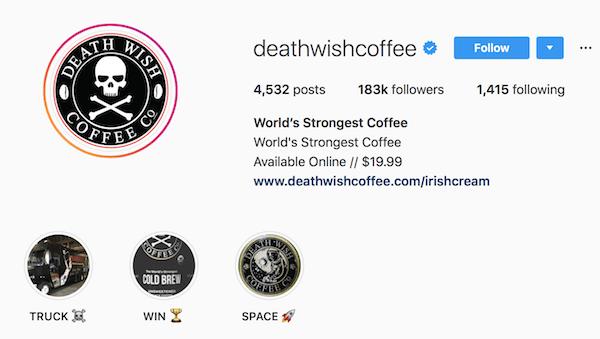 Instagram bio examples deathwishcoffee