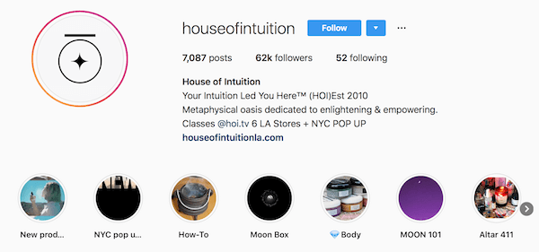 Instagram bio examples houseofintuition