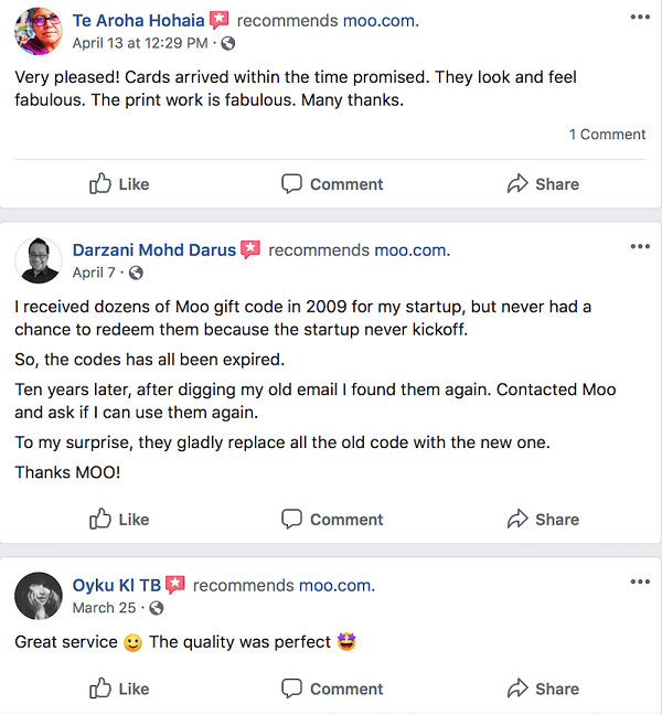 Social Media Customer Testimonials Moo