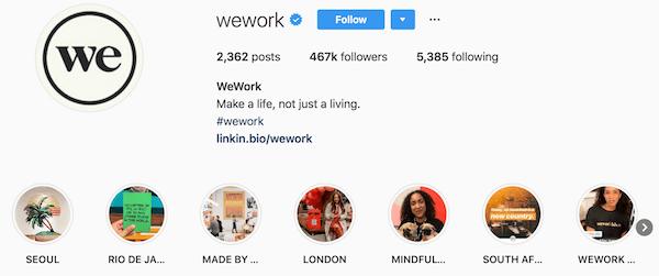 Instagram bio examples wework