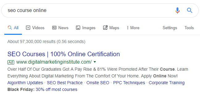 Digital Marketing Institute Google Ad Example