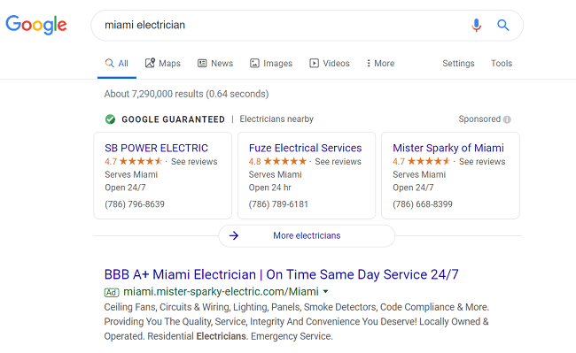 Google Local Services Ads Example - Miami Electricians