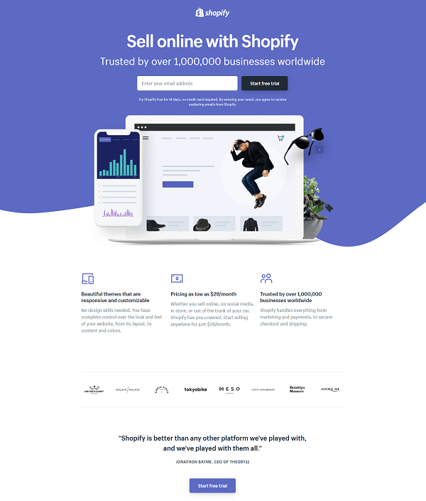 High-converting landing pages: Shopify