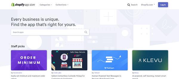 Shopify vs. WordPress: Shopify App Store